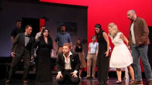 An angry crowd excoriates Don Giovanni (Erik Erlandson) in Twin Cities Fringe Opera's production of Don Giovanni.