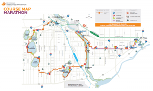 The Medtronic Twin Cities Marathon course map. Courtesy of Twin Cities in Motion.