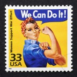 A stamp commemorating the WW2 Rosie the Riveter poster – an iconic image that has inspired many pinup recreations.
