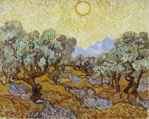 The Vincent van Gogh Olive Trees (1889) painting owned by MIA and on which the outdoor installation is based.