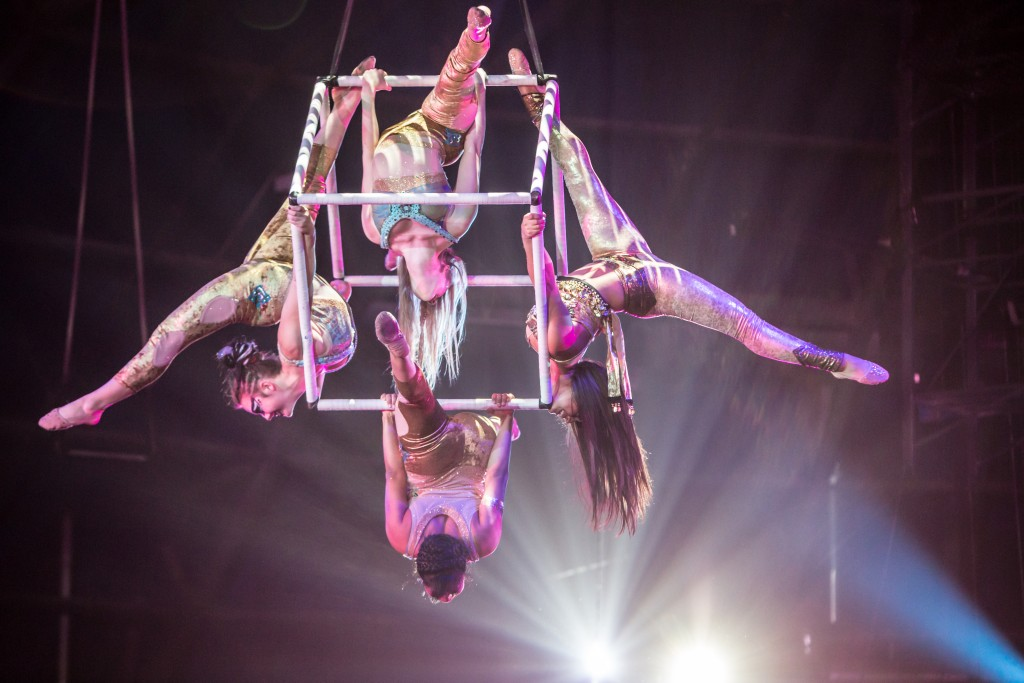 The Spinning Cube, a difficult and rarely performed act that Circus Juventas took to a European competition earlier this year and which was featured in 1001 Nights. Photo by Dan Norman.