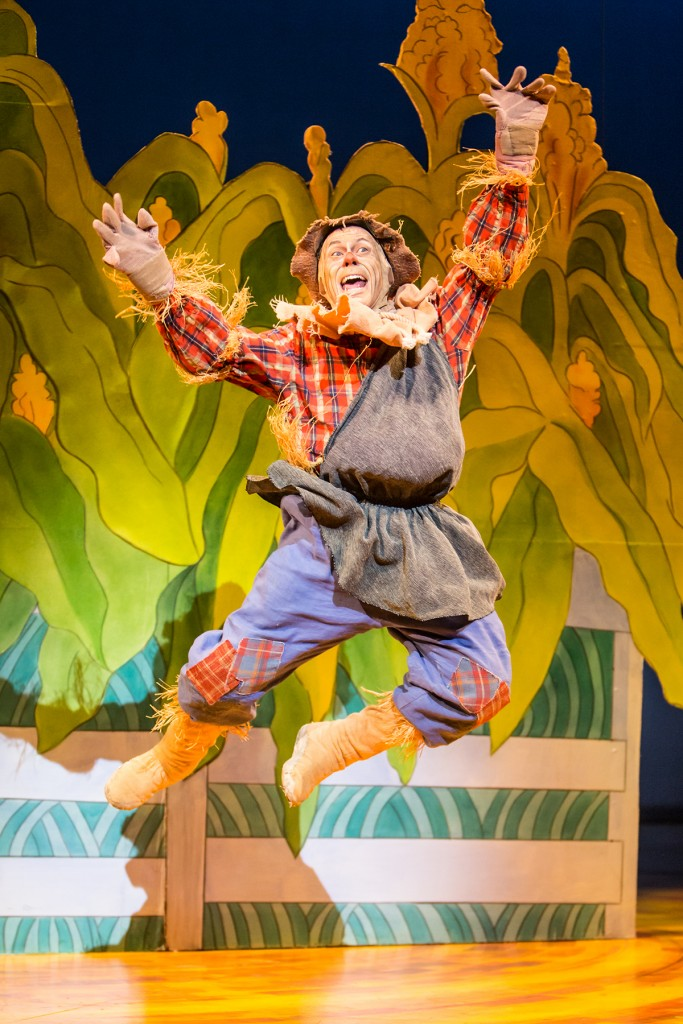 The Scarecrow (Dean Holt) jumps for joy. Photo by Dan Norman.