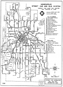 A Minneapolis Streetcar map from 1946. The Loring Theatre sat on the #4, #5, and #14 lines.
