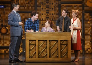 Songwriters Don Kirshner (Curt Bouril), Barry Mann (Ben Fankhauser), Carole King (Abby Mueller), and Cynthia Weil (Becky Gulsvig) in Beautiful.