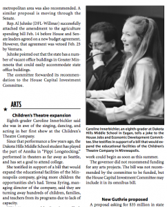 A page of Session Weekly showing Caroline Innerbichler addressing the Minnesota House of Representatives in support of the Children's Theatre Company expansion in 2002.