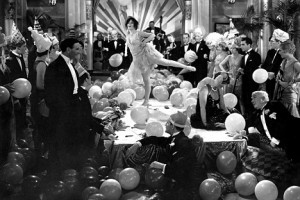 Excessive partying in New York City, as depicted in the 1929 film Gold Diggers of Broadway.
