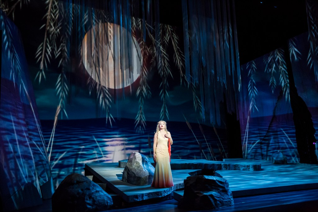 One of the distinctive sets designed by Erhard Rom (Kelly Kaduce, center, as Rusalka).
