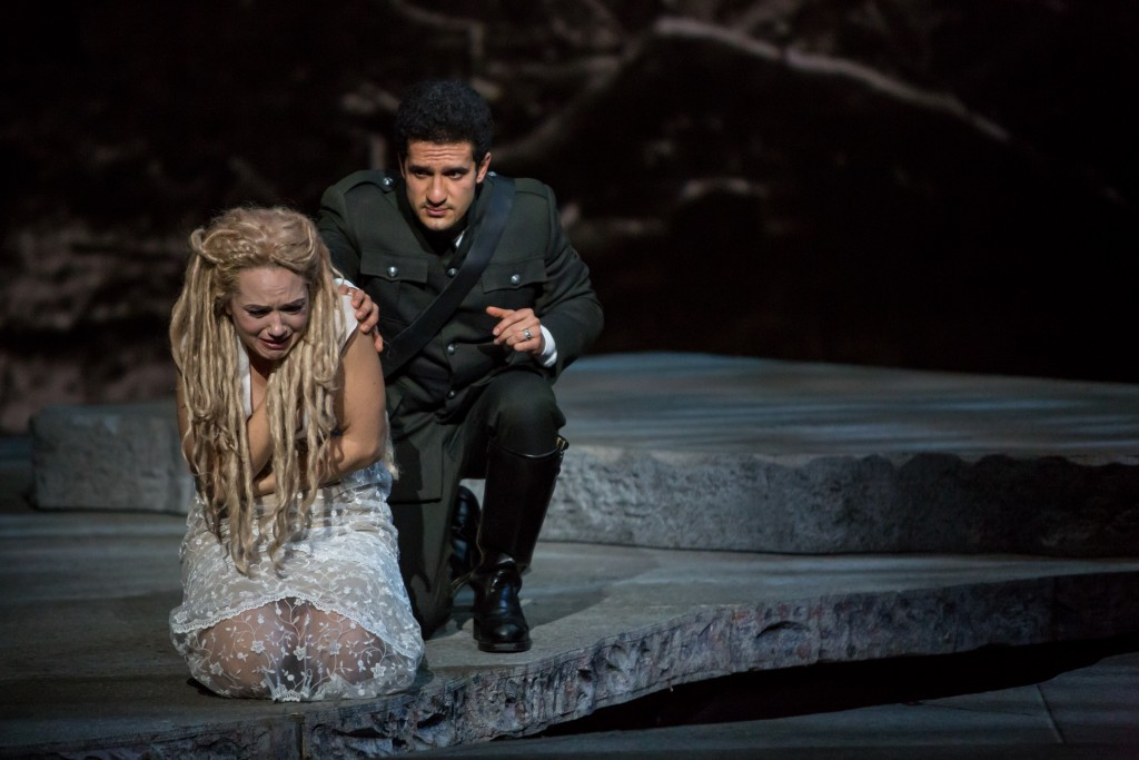 The path of love is rarely smooth with Rusalka (Kelly Kaduce) and the Prince (Khachatur Badalyan). Photo by Dan Norman.