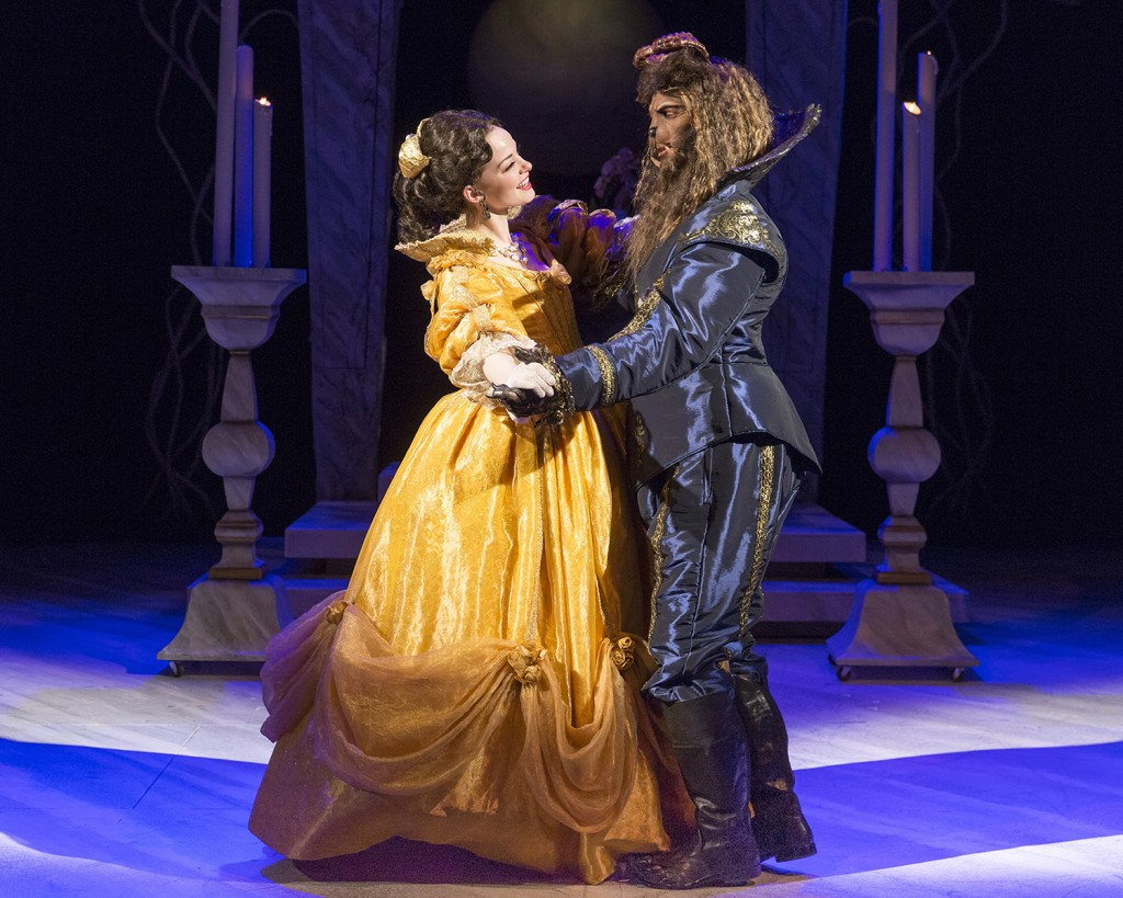 Belle (Ruthanne Heyward) and the Beast (Robert O. Berdahl) share a first dance. Photo by Heidi Bohnenkamp.