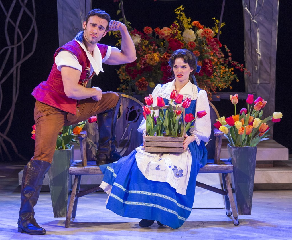 Gaston (akes Knezevich) charms Belle (Ruthanne Heyward) with his good side.