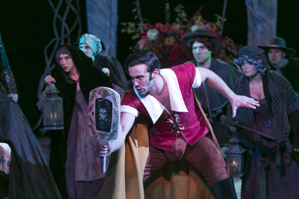 Gaston (Aleks Knezvich) leads a mob of villagers on a sinister mission.