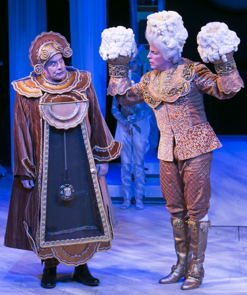 Cogsworth (Scott Blackburn) and Lumière (Mark King) debate romance, etiquette, and hospitality.