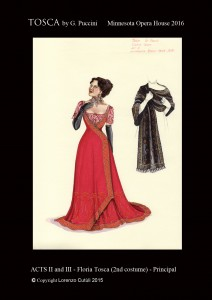 Lorenzo Cutùli's design for one of Tosca's gowns.