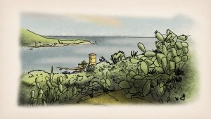 A still from Tom Schroeder's sketchbook film Island of Giglio.