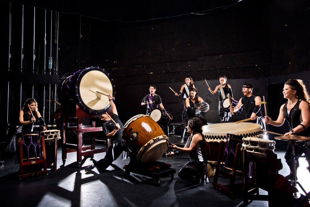 TAIKOPROJECT in action. Note the large, round double-headed taiko drums.