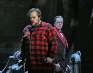 Jack Torrance (Brian Mulligan) contemplates advice from the deceased Delbert Grady (David Walton). Photo by Ken Howard.