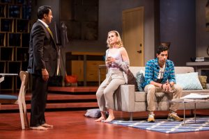 Bhavesh Patel (Amir), Caroline Kaplan (Emily), and Adit Dileep (Abe) in Disgraced. Photo by Dan Norman.