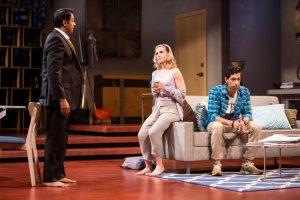 Bhavesh Patel (Amir), Caroline Kaplan (Emily), and Adit Dileep (Abe) in Disgraced. Photo by Dan Norman.