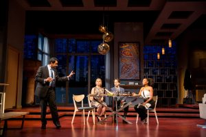 Bhavesh Patel (Amir), Caroline Kaplan (Emily), Kevin Isola (Isaac) and Austene Van (Jory) in Disgraced. Photo by Dan Norman.