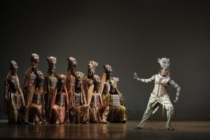 Nia Holloway as Nala with the Lionesses in The Lion King North American Tour.