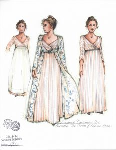 One of Moria Sine Clinton's costume sketches for Eleanor Dashwood.