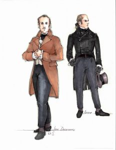 One of Moria Sine Clinton's costume sketches for John Dashwood, a kind but easily manipulated man whose inheritance sets Sense and Sensibility in motion.