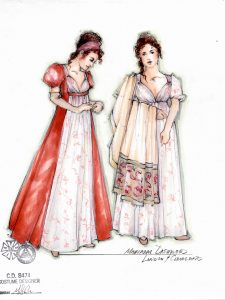 A costume sketch of Marianne Dashwood by Moria Sine Clinton.