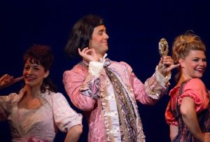 Jennifer Baldwin Peden, Andrew Wannigmann, and Jennifer Maren in Skylark's 2014 production of Candide, which packed theatres.
