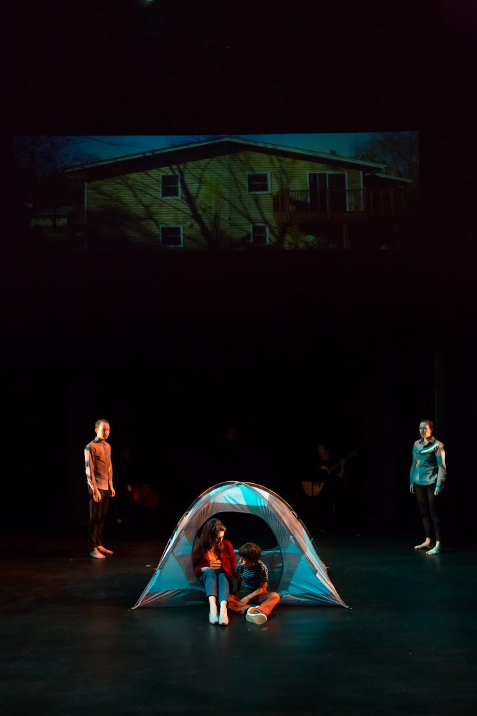 Grant Sorenson (Ensemble), Lara Trujillo (Mom), Alejandro Vega (Albert Grissom) and Cat Brindisi (Ensemble) in a camping scene. Photo by Amy Anderson.