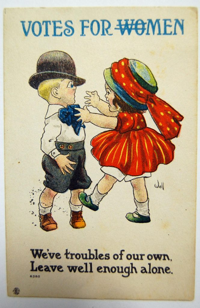 The use of children in this cartoon was used to portray women's suffrage as infantile.