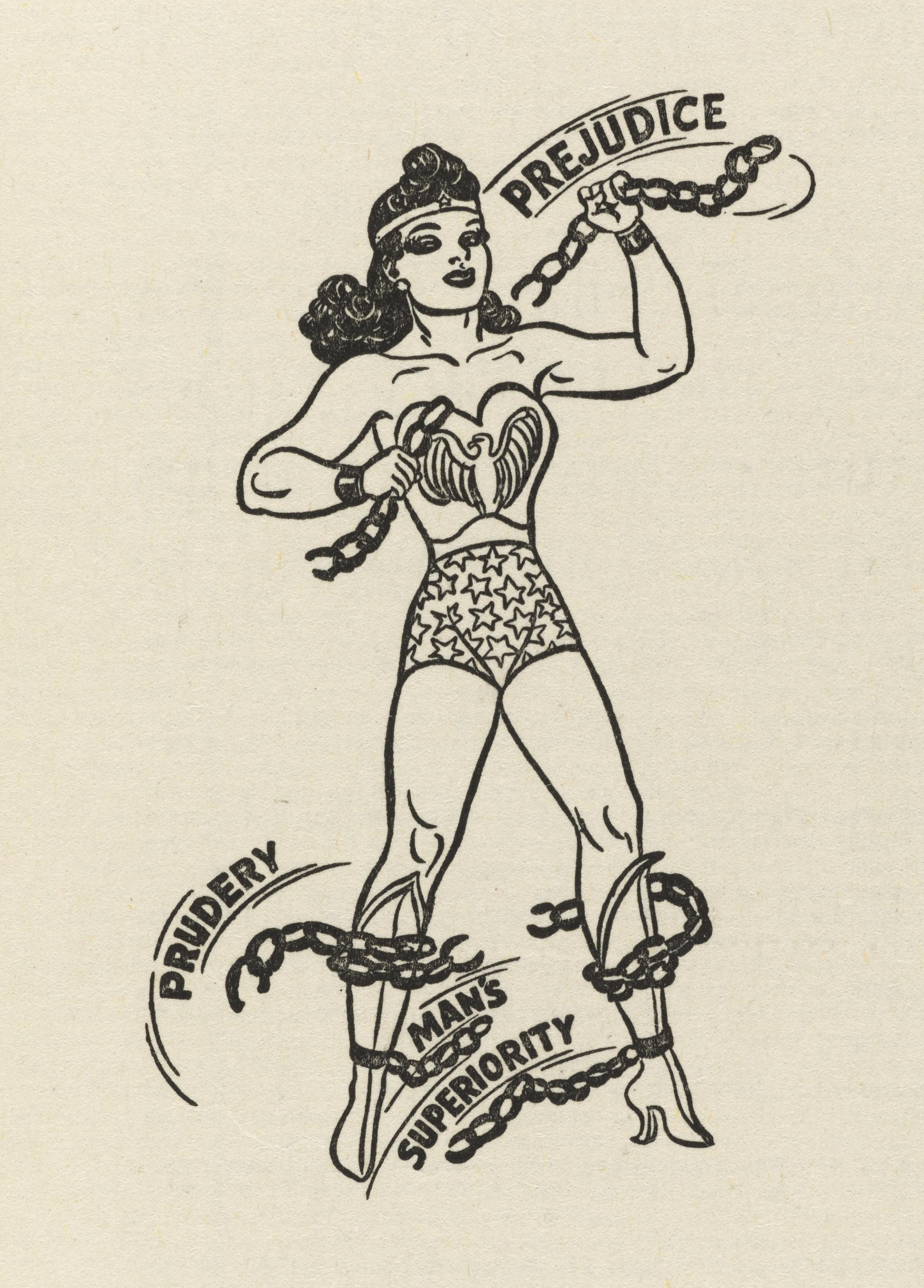 The character of Wonder Woman, although not created until 1941, was co-opted for this retro cartoon.