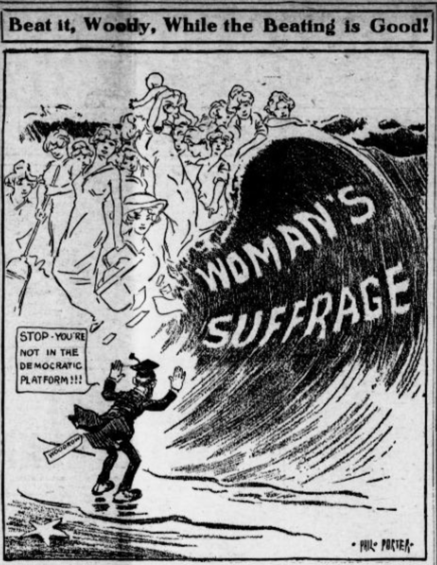 Women's suffrage as a tidal wave sweeping away the opposition.