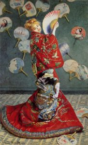 "Camille Monet in a blonde wig and ornate kimono in Claude Monet's 1876 painting La Japonaise. Oil on canvas, 91-1/4"" x 56""."
