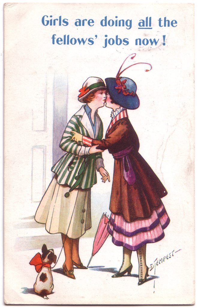 "This cartoon uses its iconography to present a dangerous ""slippery slope,"" using thinly veiled references to lesbianism to stoke fears of male emasculation, playing on the social tensions from American women having entered traditionally male trades during World War I."