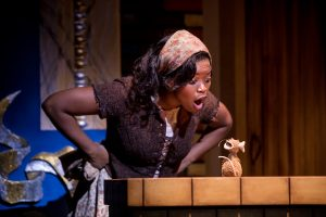 Cinderella (Traci Allen Shannon) has a word with a mouse. Photo by Dan Norman.