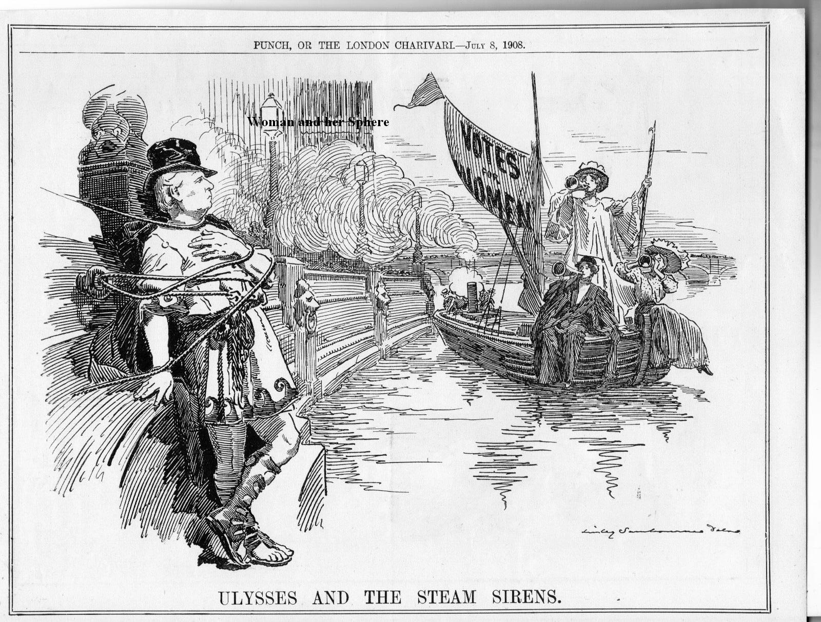 A Punch cartoon depicting the siren call of women's suffrage as irresistable.