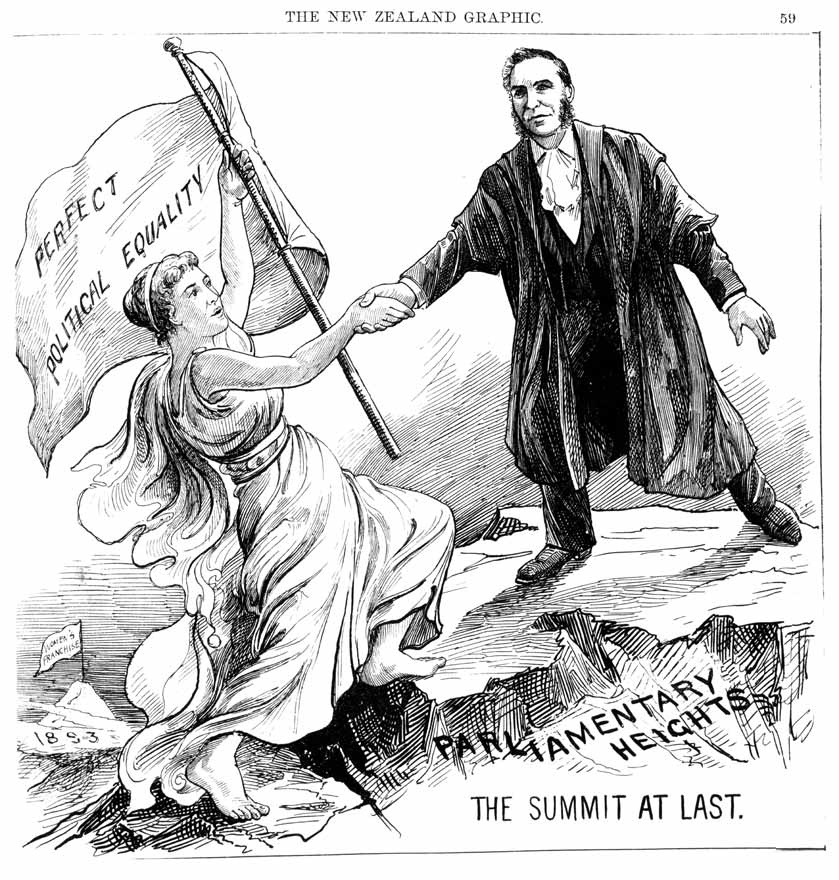 This New Zealand cartoon depicts the long gap between women's suffrage and their reaching higher office.