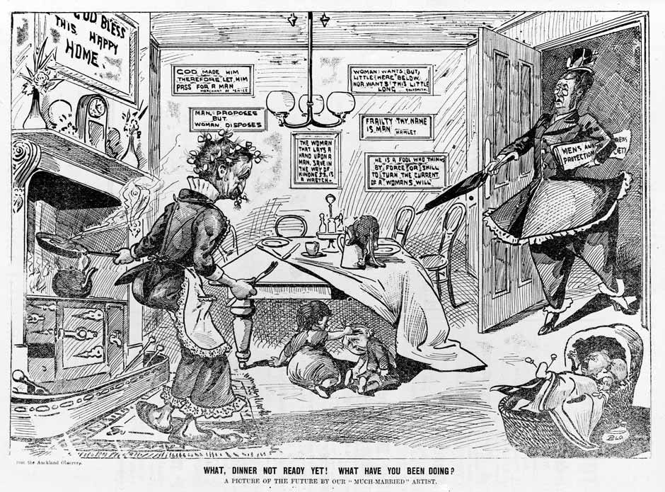 "This cartoon uses images of domestic disorder to portray women voters and suffragists as irresponsible. The replacement of ""woman"" with ""man"" in several classic quotations was intended to trivialize women's asserting a right to vote as absurd."