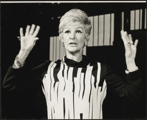 Elaine Stritch as Joanne in the 1970 premiere of Company. Stritch, then 45, was 6 years older than her costar Dean Jones (as Bobbie) and a decade older than the character of Bobbie – a then-striking difference in age.