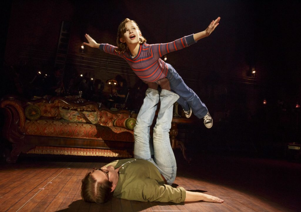 Alessandra Baldacchino as Small Alison and Robert Petkoff as Bruce in Fun Home. Photo by Joan Marcus.