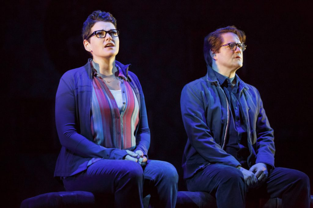 Kate Shindle as Alison and Robert Petkoff as Bruce in Fun Home. Photo by Joan Marcus.
