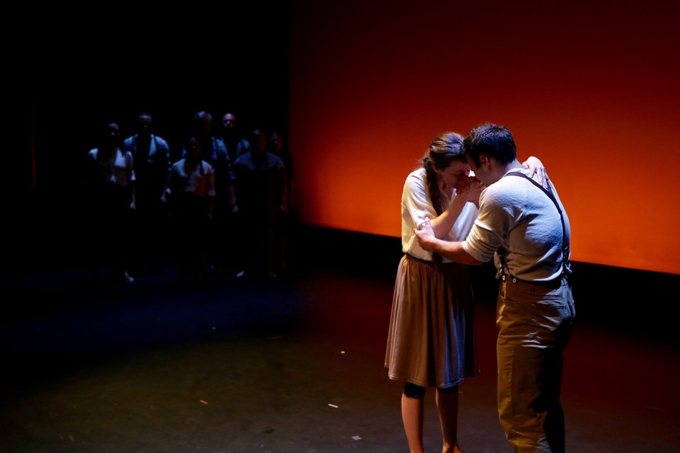 A scene from Transatlantic Love Affair's <em>Promise Land</em>. Transatlantic Love Affair is one of the five ensembles performing at Aria for <em>Five Fifths of The Matrix.</em> Photo by Nick Schroepfer.