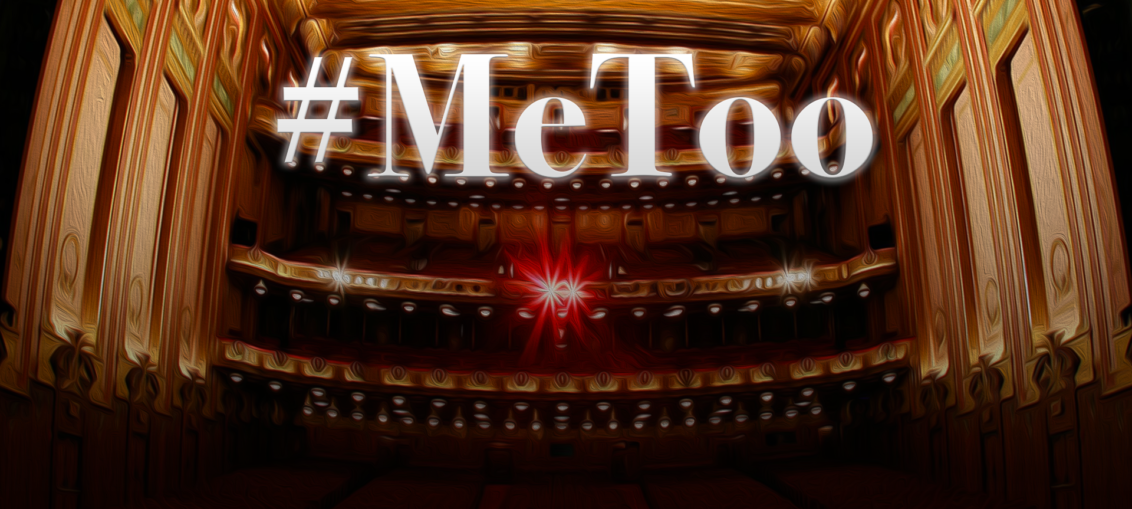 An image of #MeToo superimposed over an opera house.