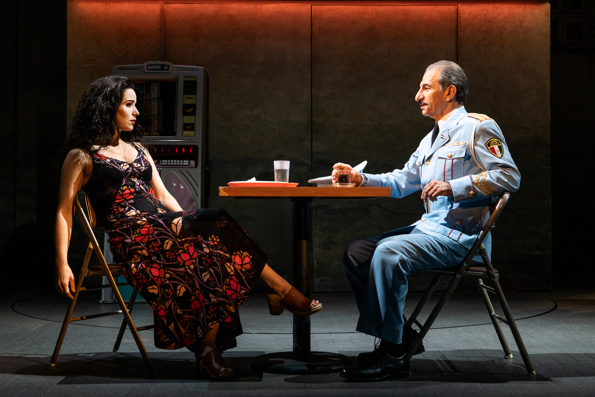Chilina Kennedy as Dina and Sasson Gabay as Egyptian bandleader Tewfiq Zakaria in <em>The Band's Visit</em>. Photo by Matthew Murphy.