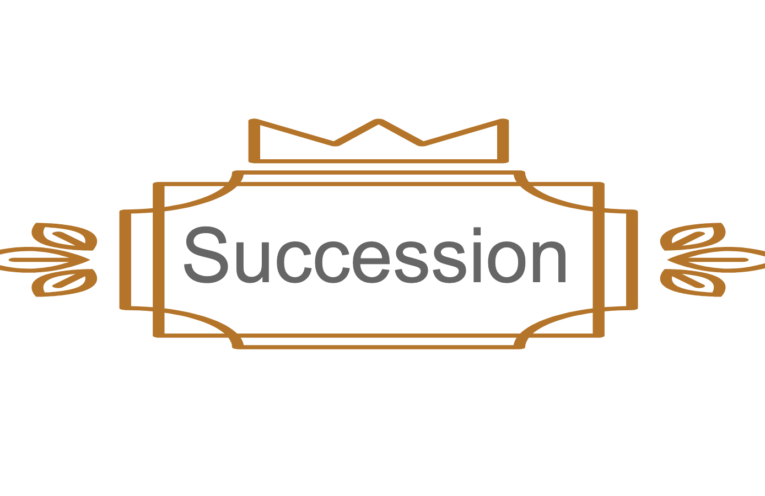 "A graphic showing the word ""Succession"" with a crown."